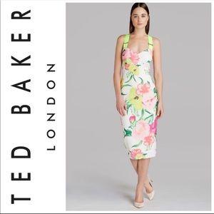 Ted Baker Taylar dress wiggle midi flower bodycon